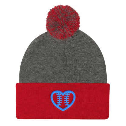 Fastpitch Softball Heart Seams Pom Pom Knit Cap