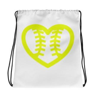Fastpitch Softball Heart Seams Drawstring Bag