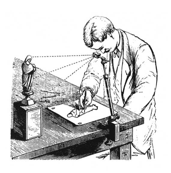 A man using a camera lucida to draw a picture of a small statue.