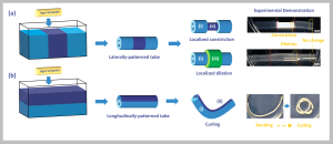 Colorful cartoon schematic showing the stepwise process to make polymer stimuli-responsive hydrogel tubes using a different stripe patterns.