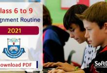 2021 Assignment Routine for Class 6 to 9 in 2021 PDF