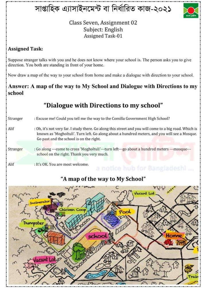 Class 7 English 2nd Assignment Answer, English Class 7 2nd Answer, A way to school map, Dialogue about location of school,