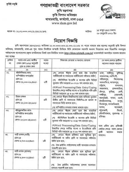 14 Jobs Vacancy in Department of Agricultural Marketing dam teletalk com bd