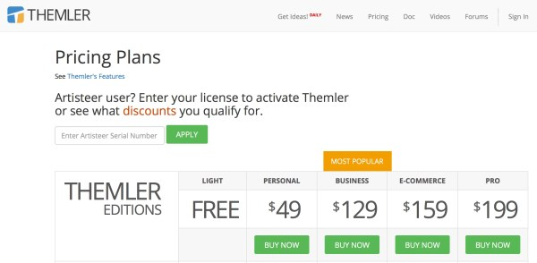 Themler pricing page to design themes and templates