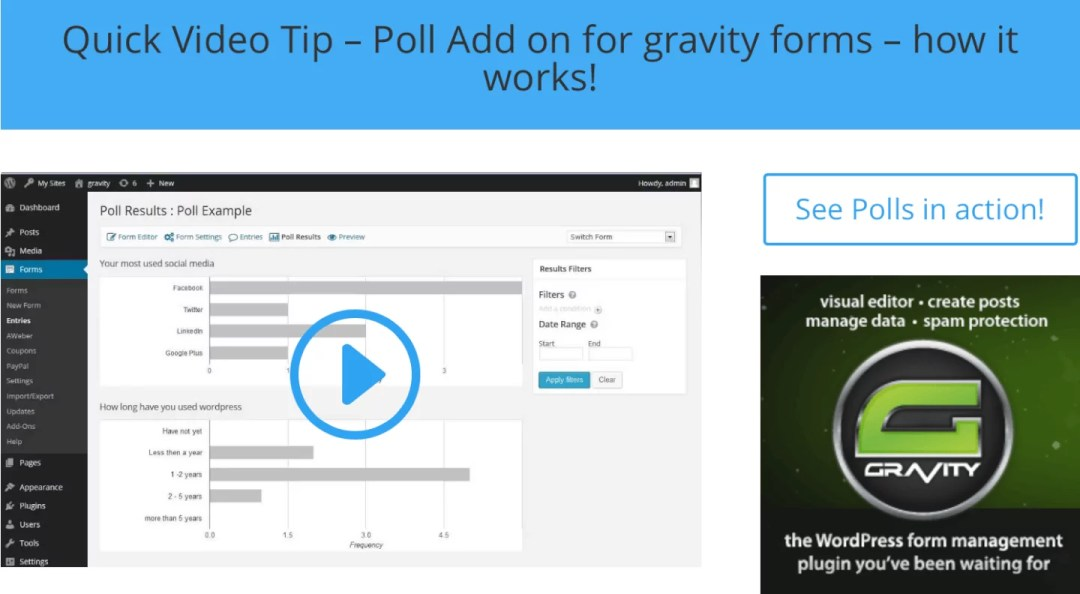 Quick Video Tip – Poll Add on for gravity forms – how it works!