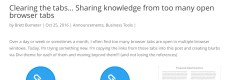 Clearing the tabs… Sharing knowledge from too many open browser tabs