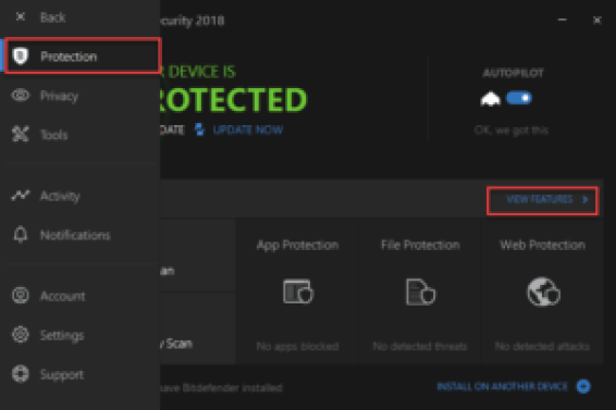 Bitdefender total security windows 10 features