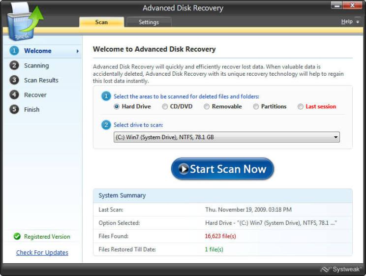 Advanced Data recovery interface