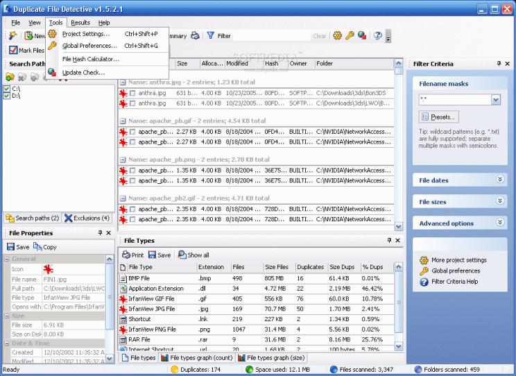 Interface Dupliate file detective