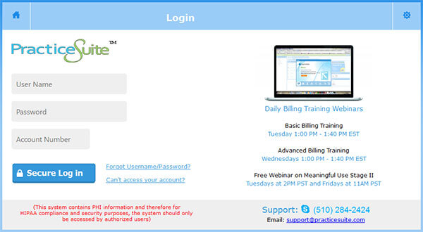 PracticeSuite Login New 2016