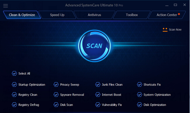 Advanced Systemcare 10 Ultimate Interface