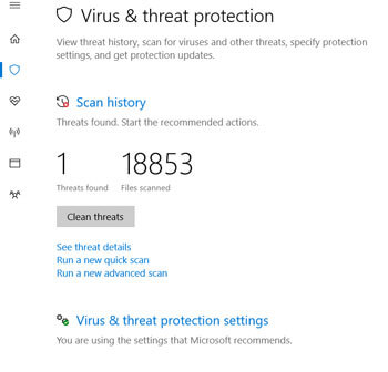 Windows Defender Virus & Threat Protection settings Windows 10