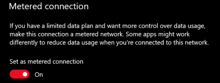 windows 10 metered connection toggled