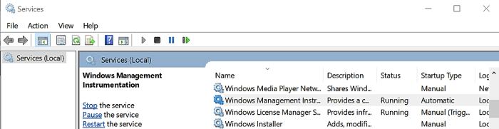 WMI Provider Host services.msc