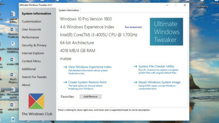 ultimate windows tweaker 4