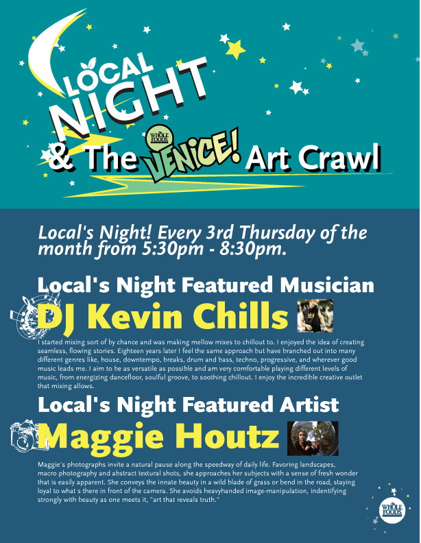 Flyer for upcoming Locals Night at Whole Foods with Maggie Houtz & DJ Kevin Chills