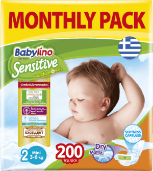 Πάνες Babylino Sensitive Monthly Pack No2 (3-6Kg) 200τεμ.
