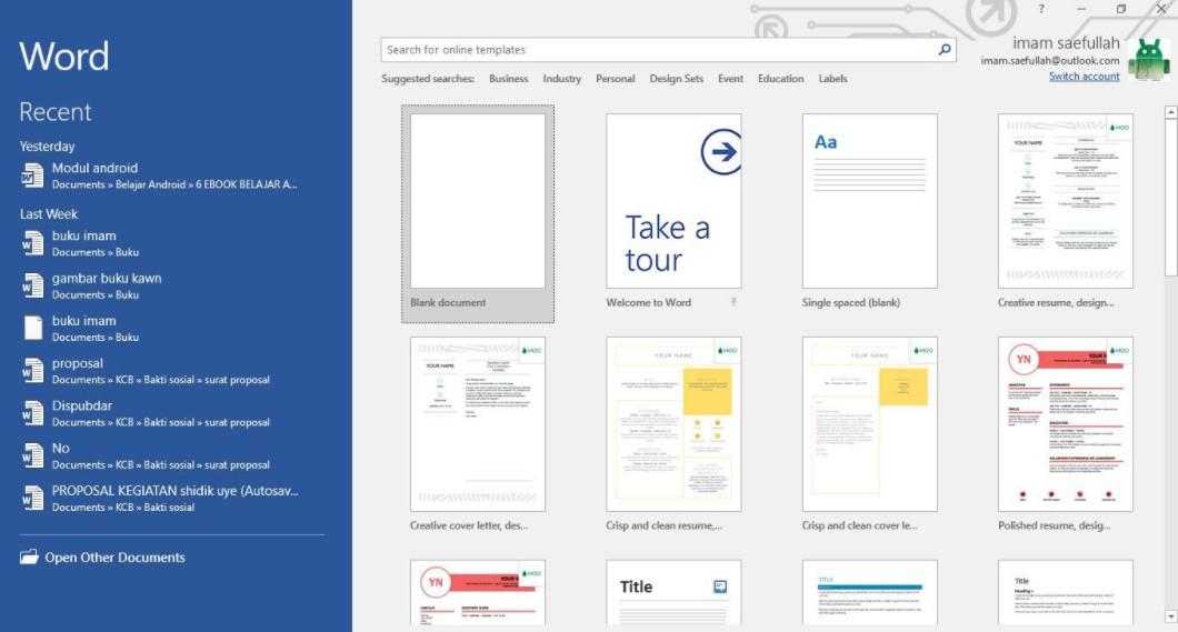 Microsoft Word 2016 for Windows