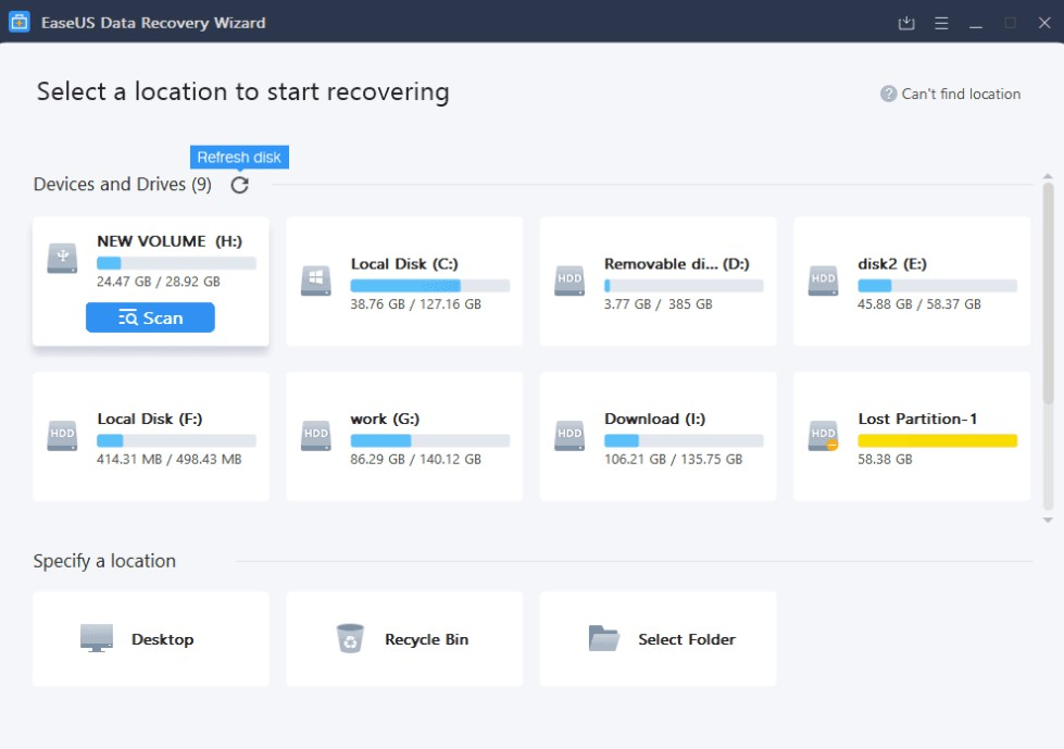 EaseUS Data Recovery Wizard Free for Windows