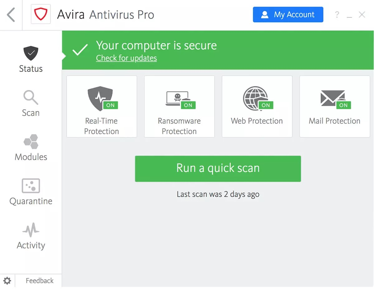 Avira Antivirus Pro for Windows