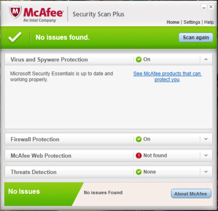 McAfee Security Scan Plus for Windows