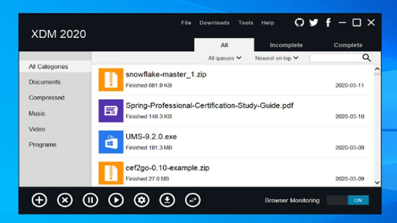 Xtreme Download Manager XDM Windows