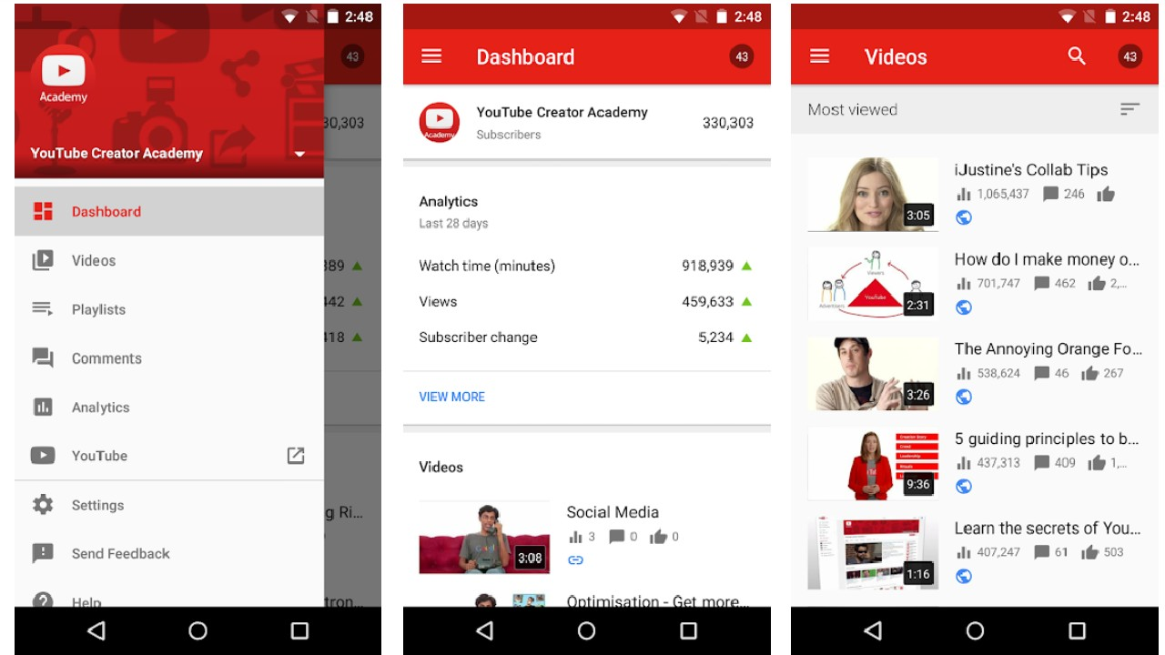 YouTube Creator Studio for Android