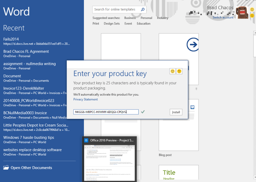 ms word product key