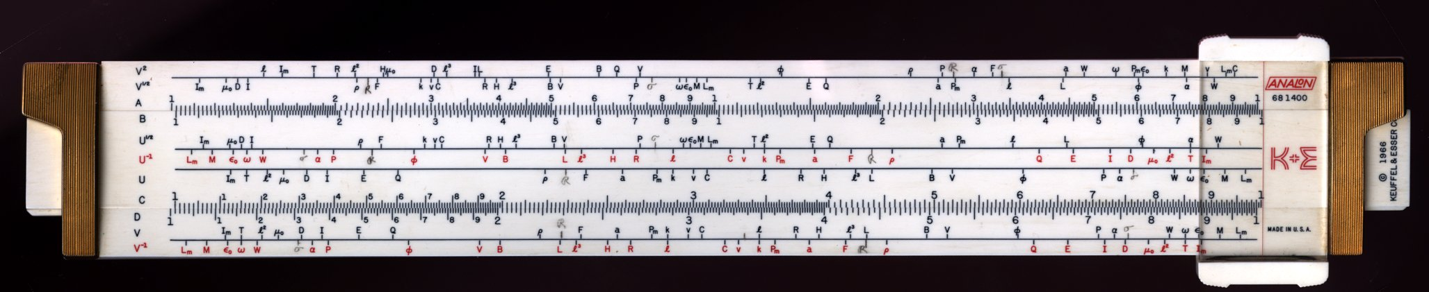 Analon slide rule - front