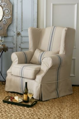 Slipcovered Tristan Chair  Slipcover Chair Wingback