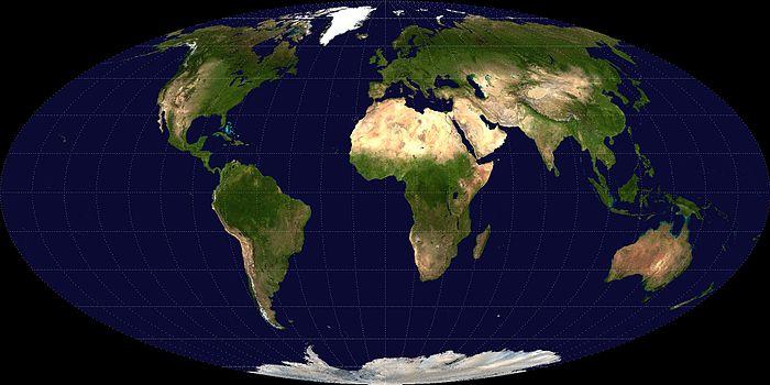 面積が正しい図法(モルワイデ図法)の画像