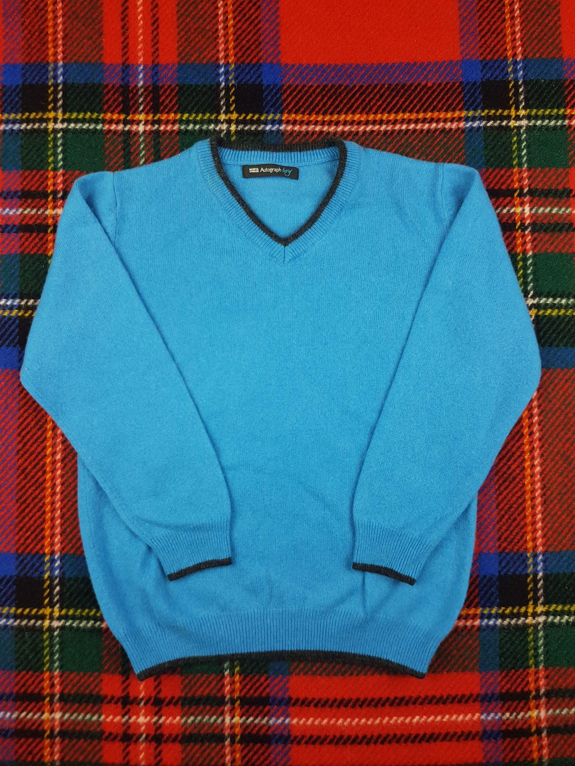 M&S Children's V Neck Cashmere Sweater in Cornflour Blue | Softtouch Cashmere
