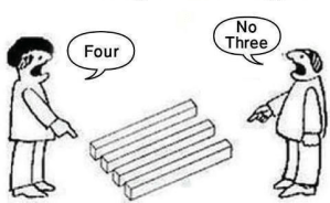 an optical illusion with either three or four boards depending on perspective.