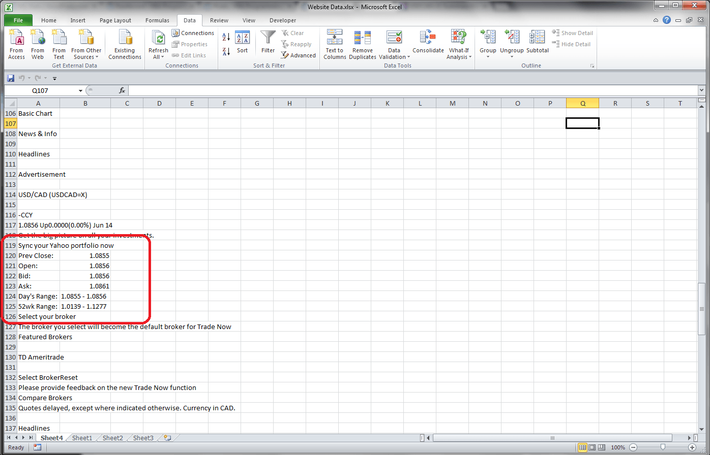 Excel Vba Retrieving Data From A Website Using A Query