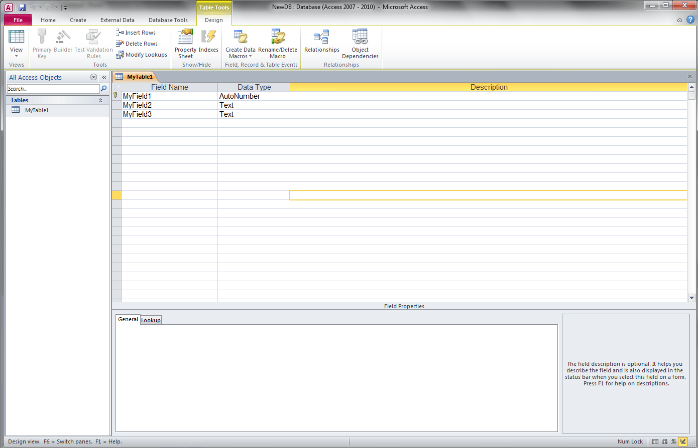 Vba Access Get Field Types