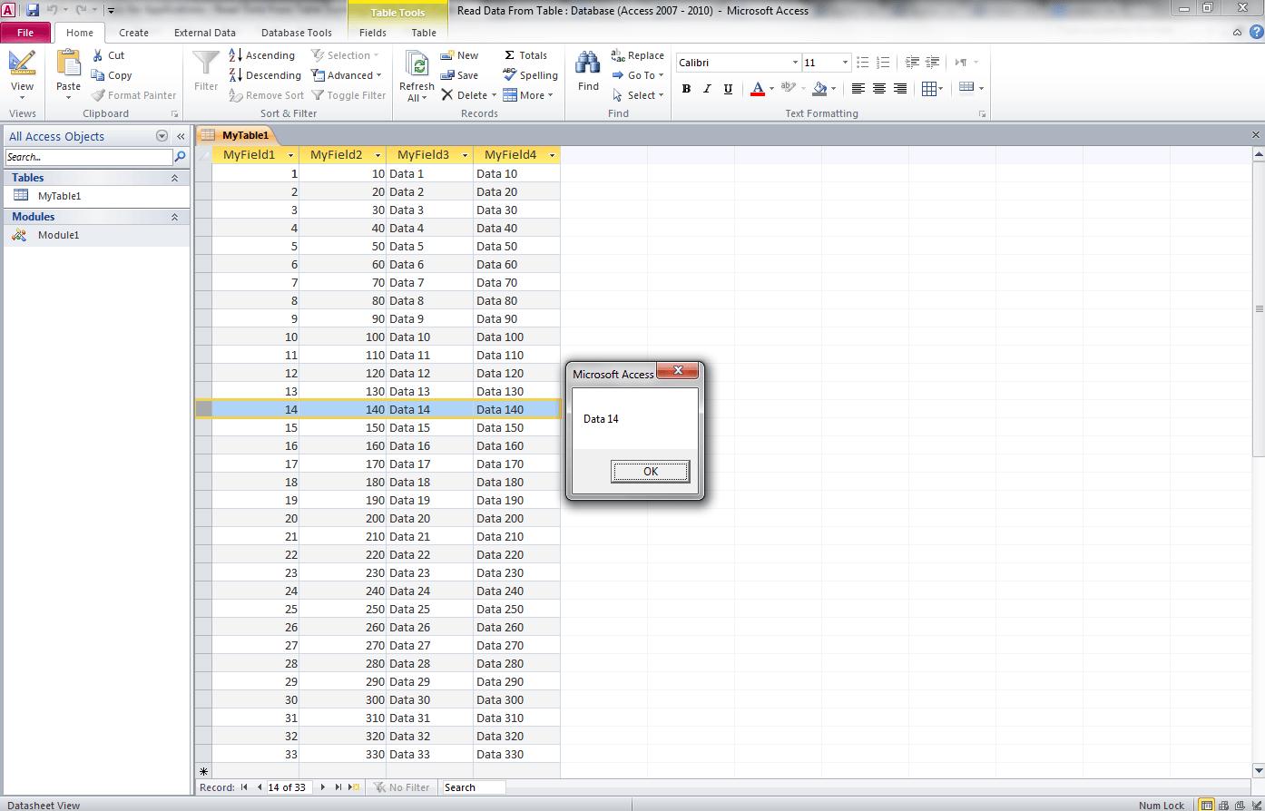 Read Data From Table Access Vba