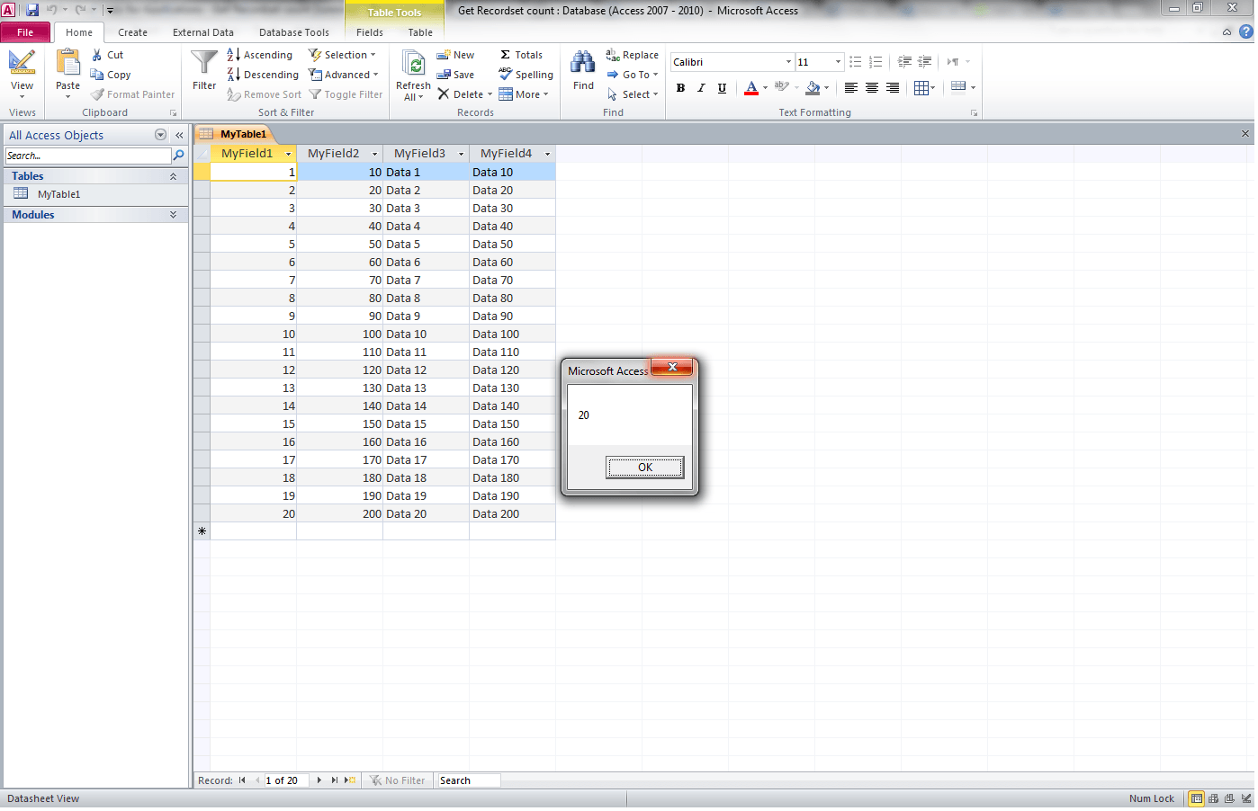 Vba Access Get Record Count