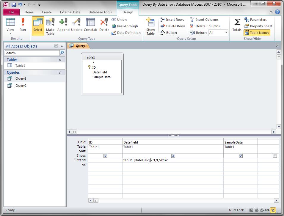 Query Dates Type Mismatch Error Access