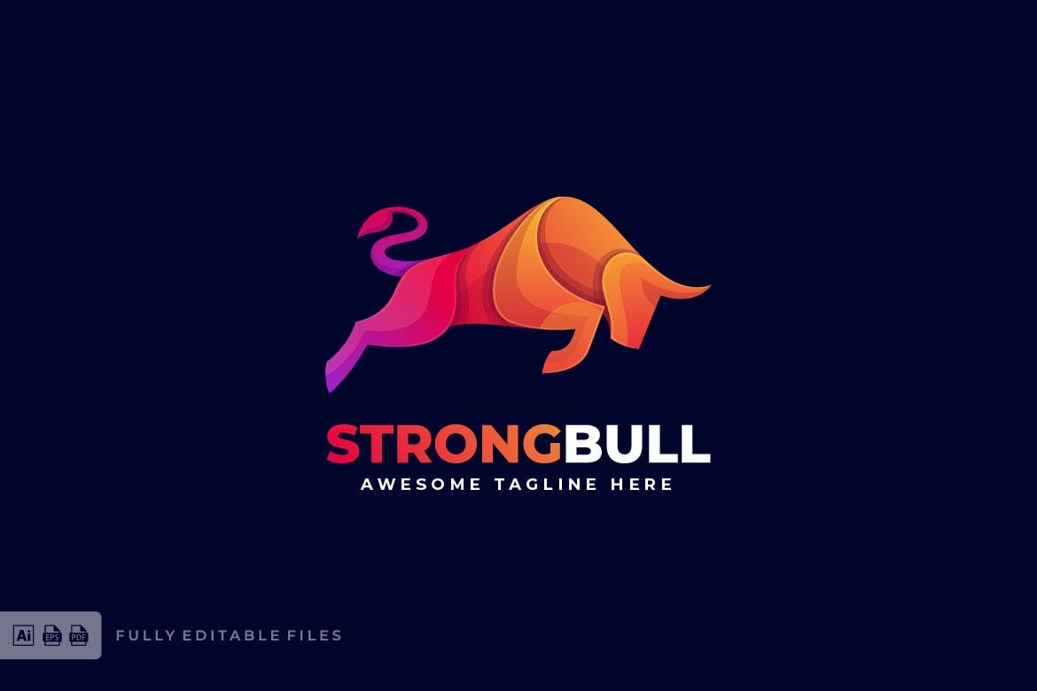 Strong Bull Colorful Logo Template