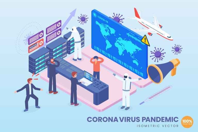 Isometric Corona Virus Pandemic Vector Concept