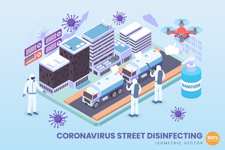 Isometric Coronavirus Street Disinfecting Vector