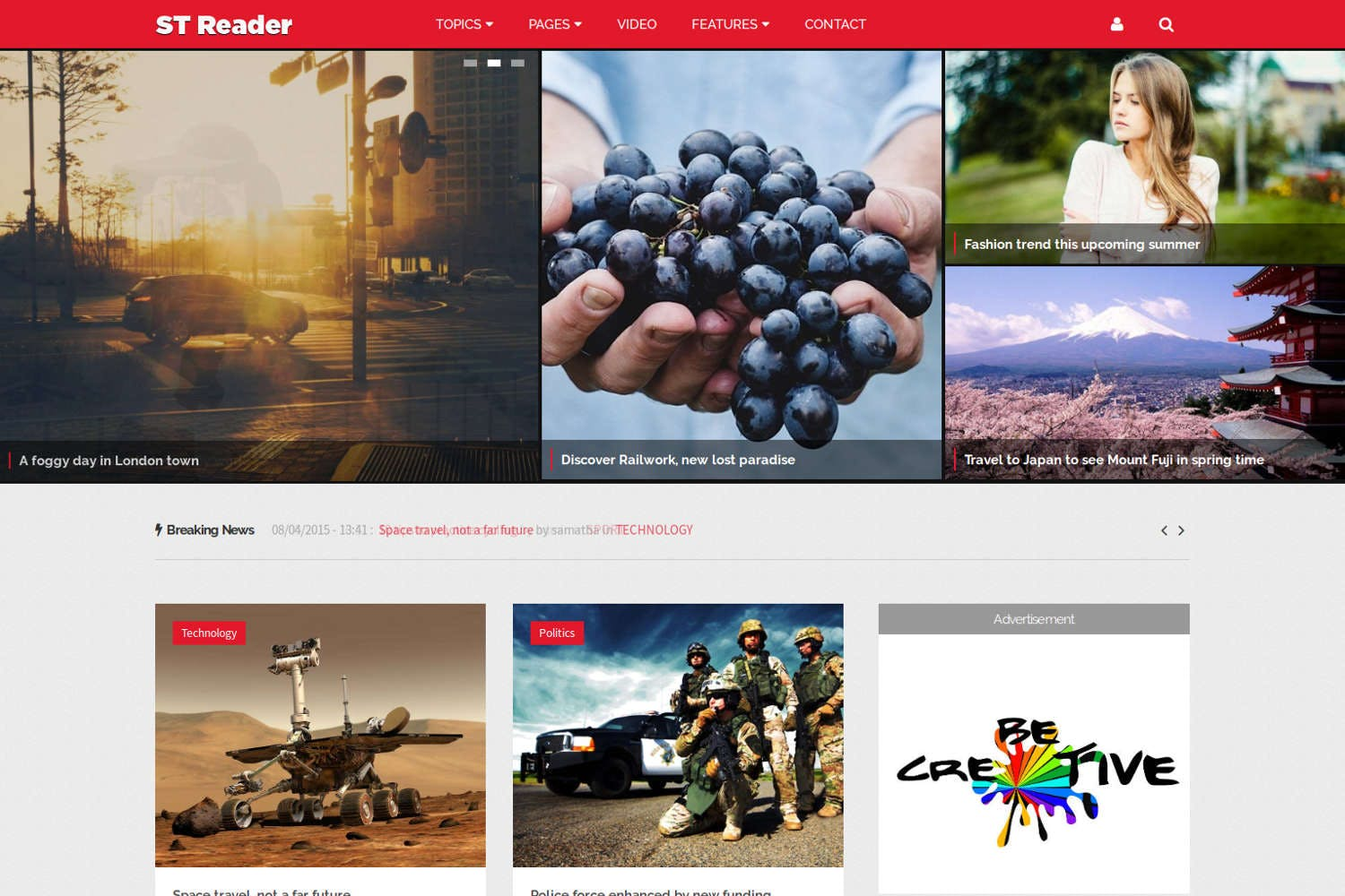 Reader - News & Magazine Drupal Theme