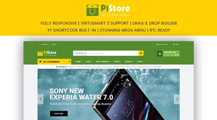 Sj PiStore - template online store on Joomla