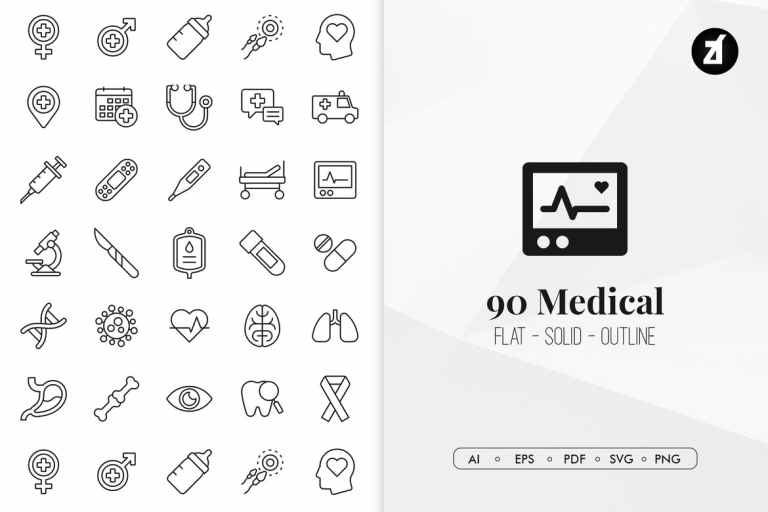 90 medical elements in minimal design