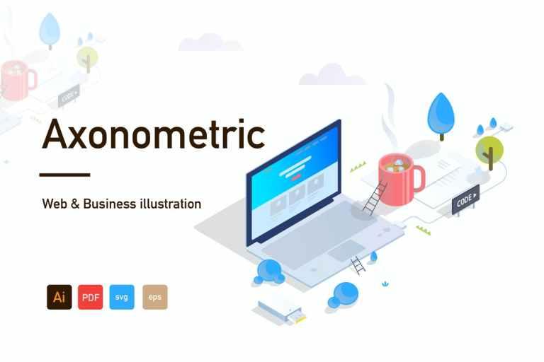 Axonometric Web and Business illustration-02