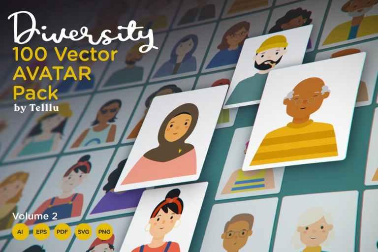 Diversity 100 Vector Avatar Pack v.02