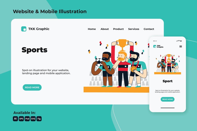 Football champion celebration web and mobile