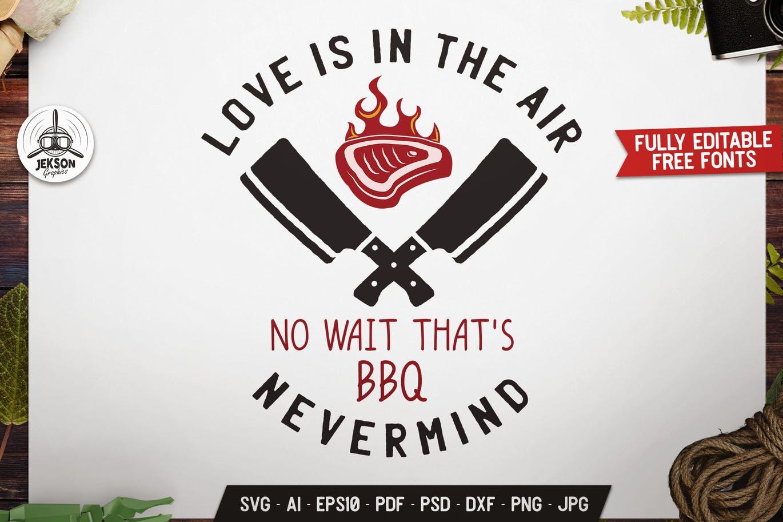 Funny Love BBQ Logo Design Retro Vector Badge SVG