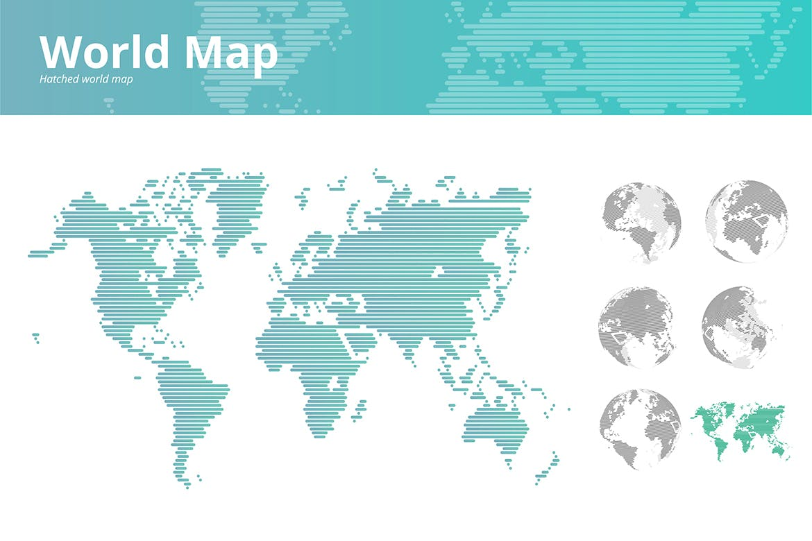 Hatched world map