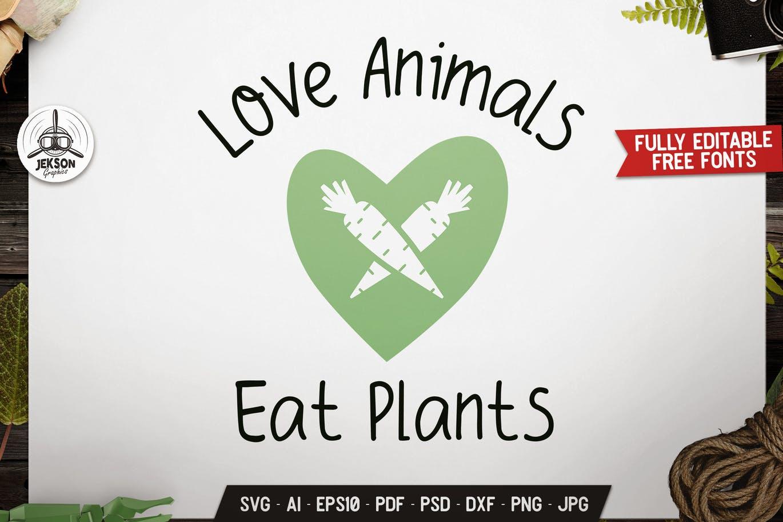 Love Animals Vegan Logo Design Retro Vector Badge